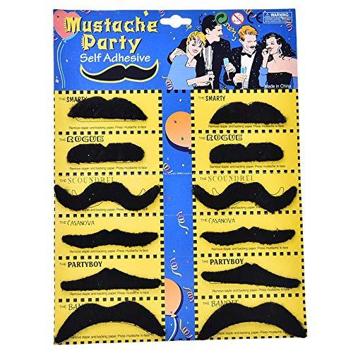 (Purc - 12pcs Lot Costume Party Halloween Fake Mustache Moustache Funny Beard Whisker - King Black Halloween Daria Wig Morgendorffer Keratin Decorations Beard 1 False Closure Gold Treatment)