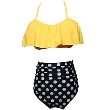 fac85fe9fb Bikini Sets for Women Shorts Halter Neck Top Bottoms High Waisted Dress  Ladies Swimsuit Dark Yellow