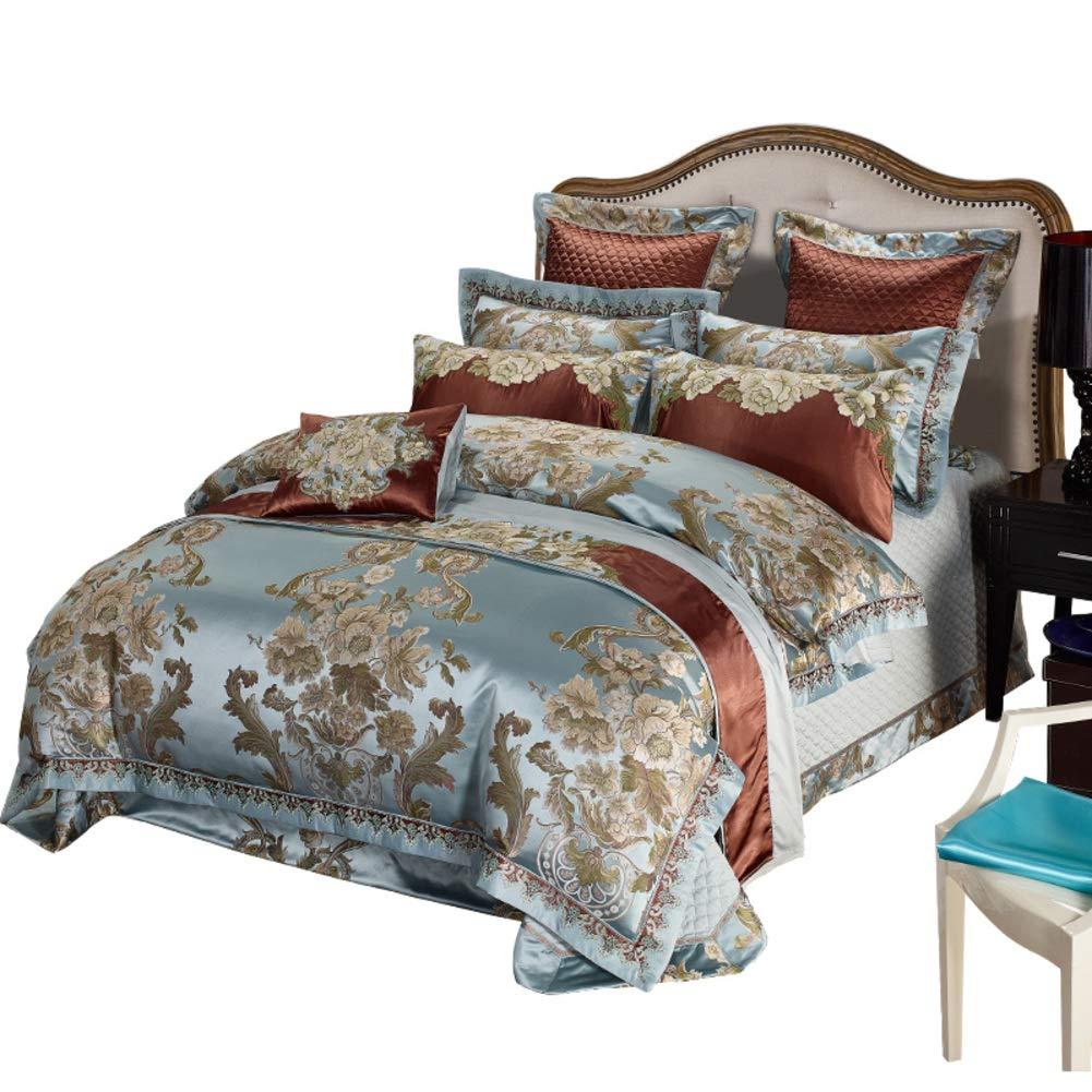 刺繍 サテン ジャカード 寝具カバーセット, 柔らかく快適 10% 高級 欧州 新古典主義のスタイル 寝具布団セット-A B07NY1FH76