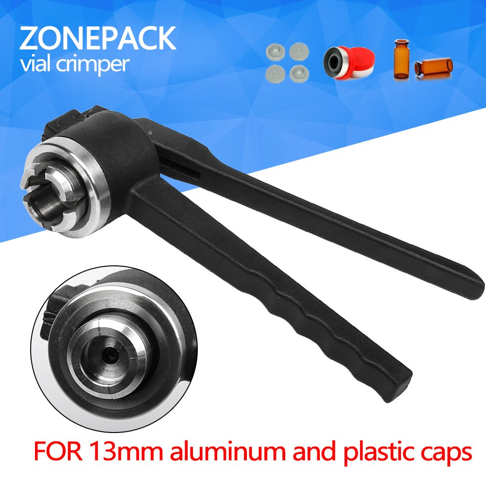 ZONEPACK 13mm Stainless Steel Lid Crimper Hand Sealing Machine Manual Gland Pliers Bottle Cap Crimping Tool For Aluminum and Plastic Caps (13A)