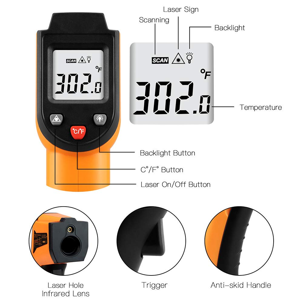 Digital Infrared Thermometer Laser Temperature Gun Non-Contact 50°C to 400°C(-58°F to 752°F)