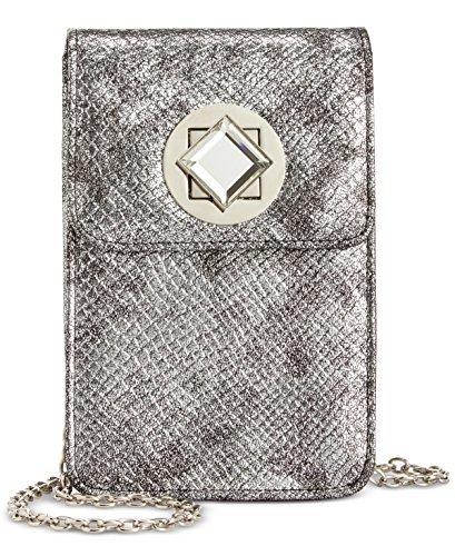 INC Womens Metallic Crossbody North South Handbag Silver Small - Moon Silver Bag