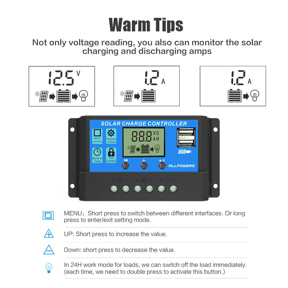 Allpowers 20a Solar Charger Controller Panel Wiring A Intermediate Switch Battery Intelligent Regulator With Usb Port Display 12v 24v Garden Outdoor
