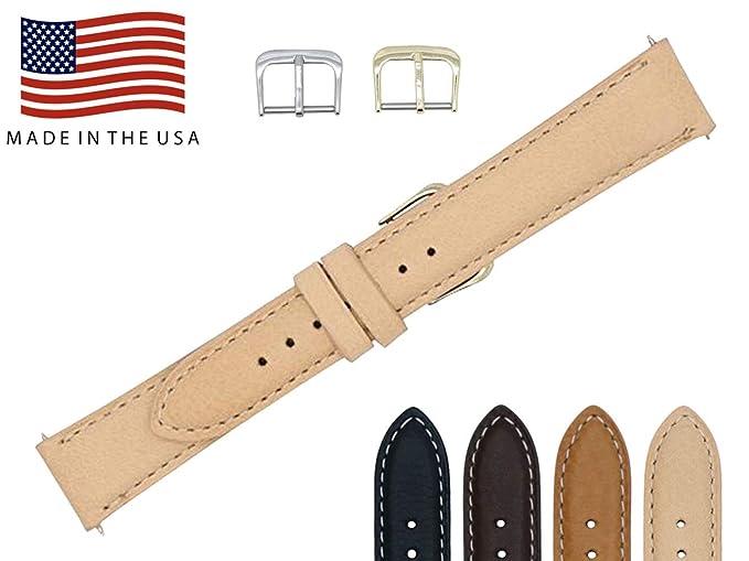 18 mm Beige Natural Suave Piel Auténtica Correa para reloj de repuesto con contraste de punto de fabricadas en Estados Unidos FBA122: Amazon.es: Relojes