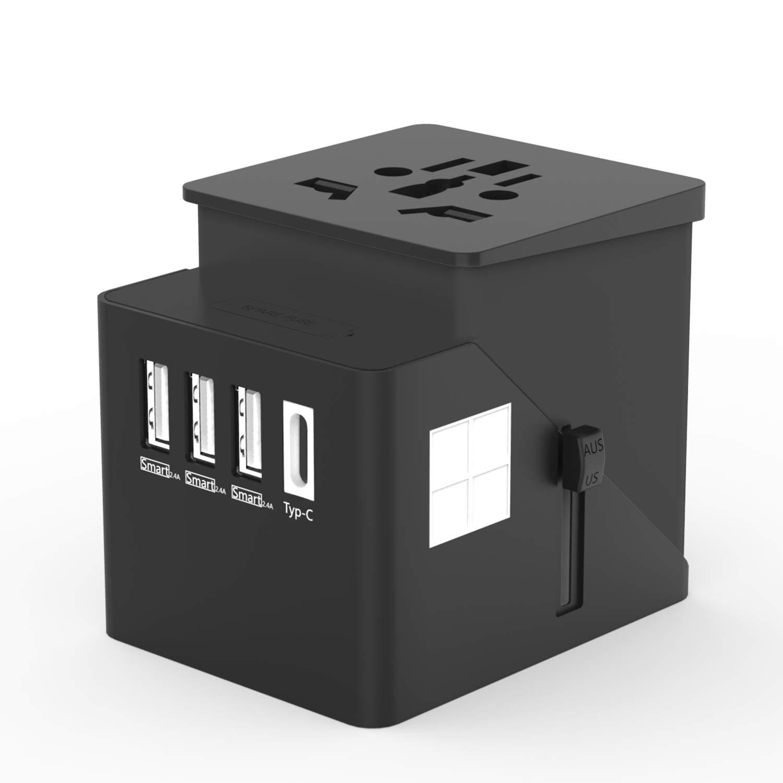 HUANUO Adaptateur de Voyage Universel Chargeur Secteur USB pour US/UK/AUS/EU Environ 150 Pays Adaptateur Prise Anglaise Convertisseur International avec 4 Ports USB Multifonction-Blanc HNWUTA-E