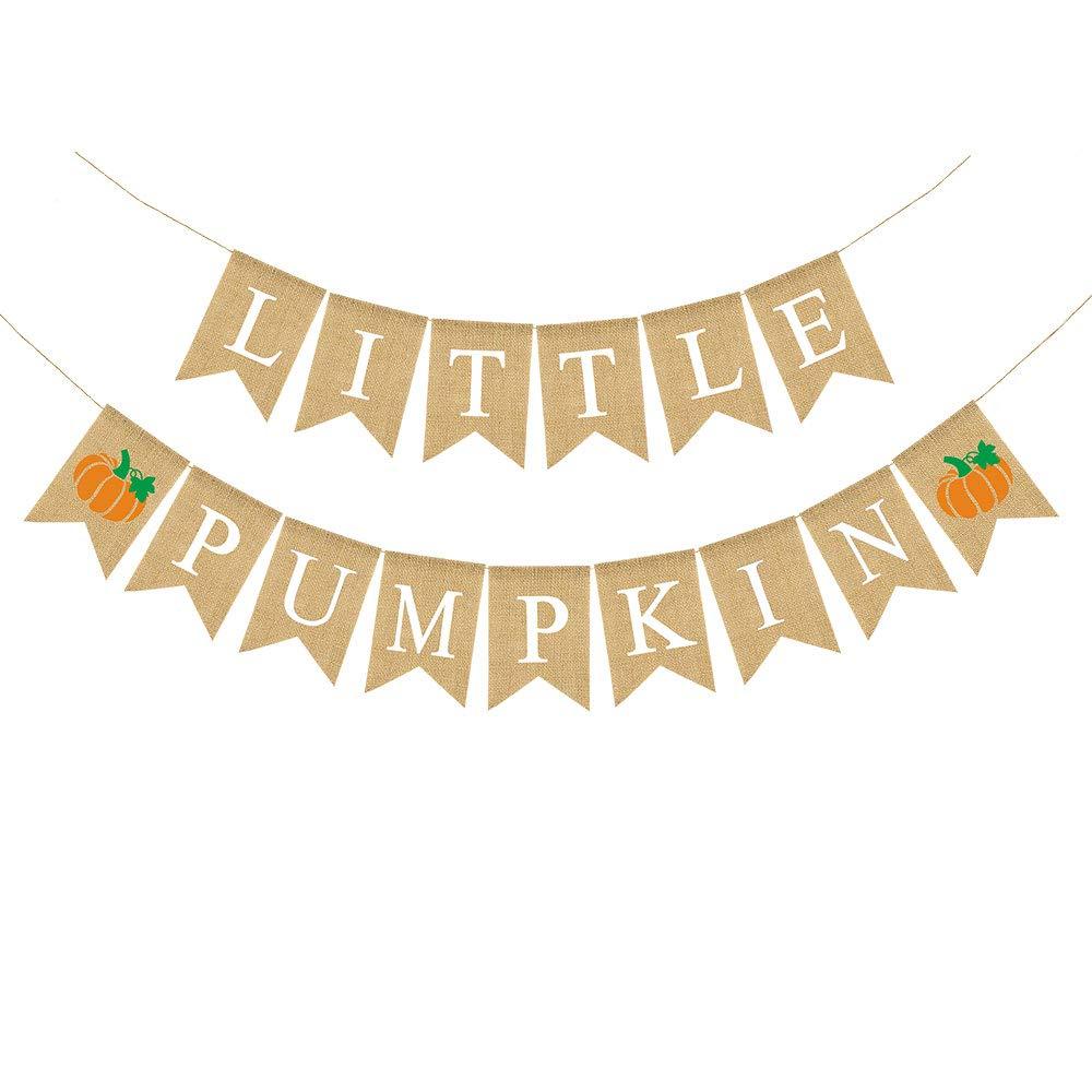 Rainlemon Jute Burlap Little Pumpkin Banner Fall Autumn Baby Shower Diaper Party Birthday Party Garland Decoration by Rainlemon