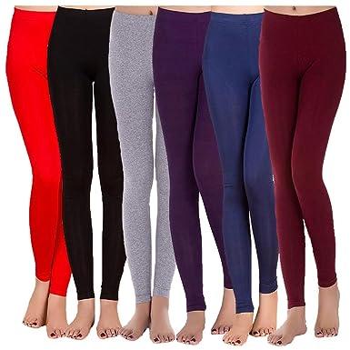 35494776de2 AISKLY 6-Pack Women Summer Leggings Slim Yoga Legging Stretchy Ankle Length  Pants