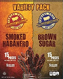Curley Tail Candied Bacon - Variety Pack (Sweet Brown Sugar / Smoked Habanero) (30 Pack - 15 of Each Flavor)