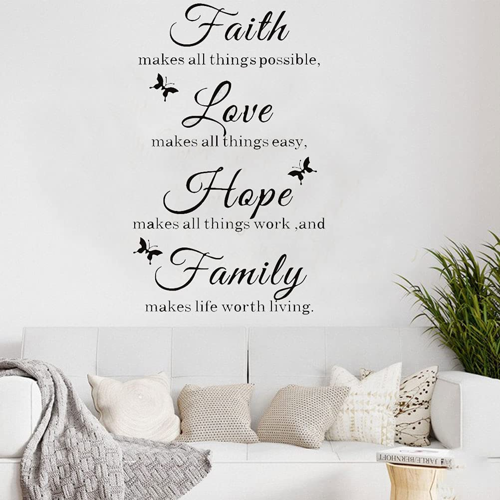Wall Quote Stickers Faith Love Hope Family Motivational Wall Decal Family Inspirational Sayings Wall Décor Home Decoration for Living Room, Bedroom, Bathroom