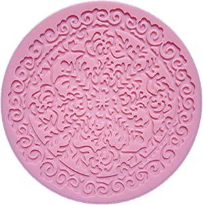 Longzand Molds DIY Cake Decorating Mold with Silicone Lace Mold Mat, Fondant Mold and Silicone Sugar Craft Molds, Pink
