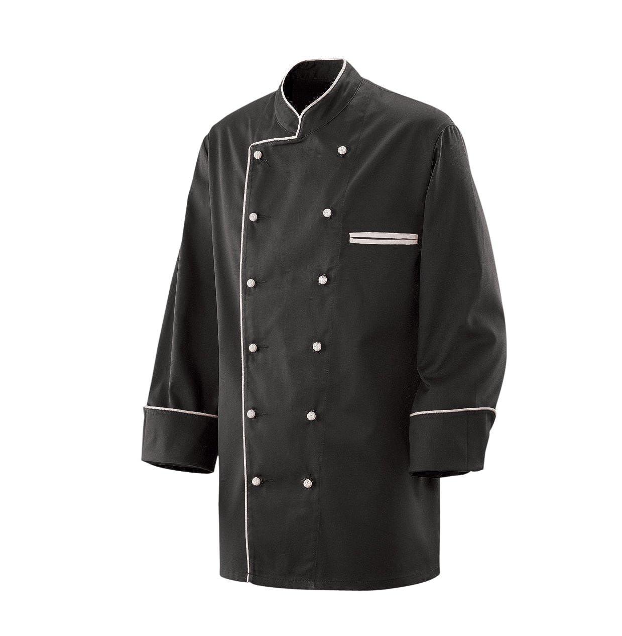 Kochjacke Bäckerjacke Jacke Langarm Schwarz mit weißem Paspel aus 35% Baumwolle, 65% Polyester 220gr.
