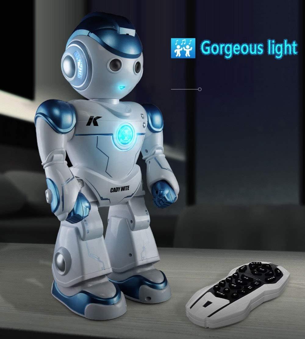 KYOKIM Robot De Control Remoto, Juguetes Electrónicos Interactivos para Niños Que Pueden Cantar Y Bailar,Blue