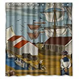 Beeyoo Shower Curtains Of Navigation Voyage Seafaring Navigate Sailing Boat Ship Vessel Jalor Art Painting Polyester Width X Height / 66 X 72 Inches / W H 168 By 180 Cm Best Fit For Hote