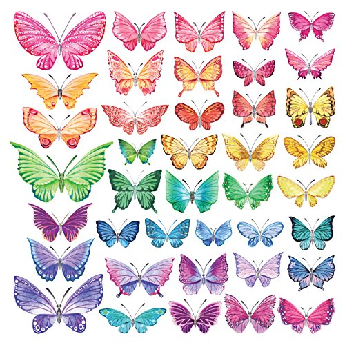 Decowall DS-8022 Watercolour Butterflies Kids Wall Stickers Wall Decals Peel and Stick Removable Wall Stickers for Kids Nursery Bedroom Living Room -