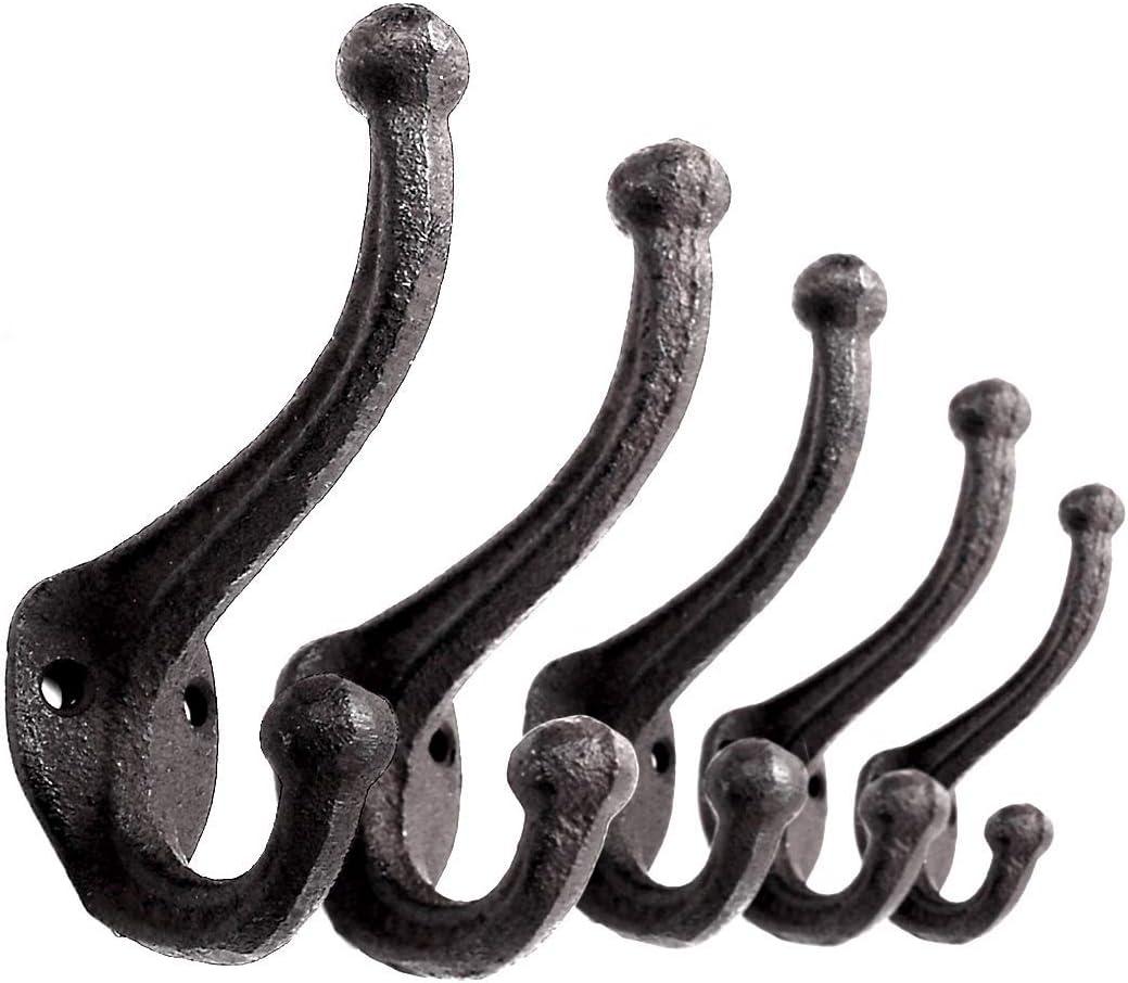 6 X  Cast Iron Traditional Acorn Coat Hooks 5 inch polished iron