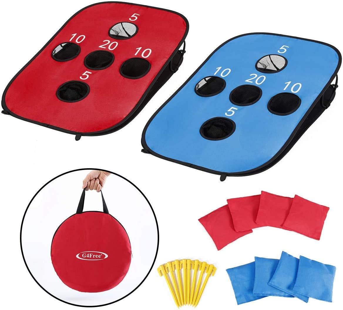G4Free Juego Plegable Port/átil de 5 Agujeros Cornhole Play con 8 Bolsas de Frijoles Bolsa de Transporte Juego de Lanzamiento Tama/ño 3 pies x 2 pies para Acampar y Viajar