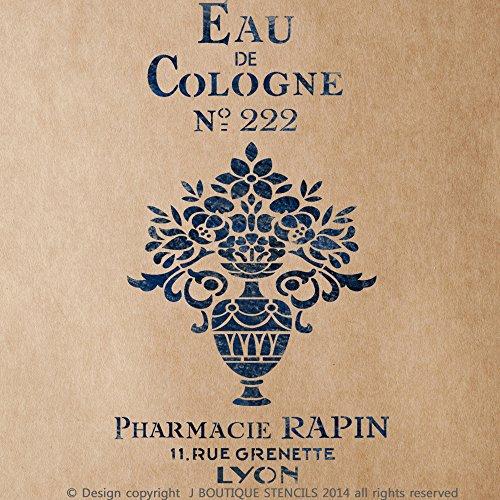 J BOUTIQUE STENCILS Eau De Cologne Vintage Stencil for Painting Signs Crafting DIY Wall decor - Artistic stencil