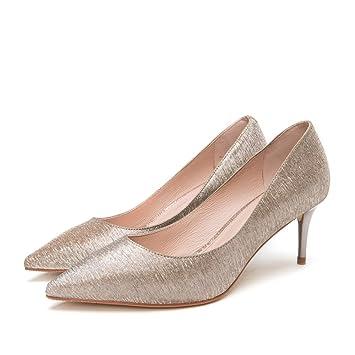 pllp Sandales pour femmes printemps tendance, stilettos élégants pour dames, bouche pointue peu profonde avec des chaussures de femmes,,argent,37