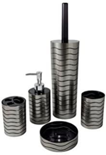 ice collection black bathroom accessories set toilet brush soap dispenser toothbrush holder tumbler
