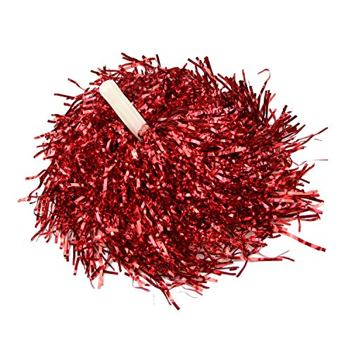 [Red Plastic Cheerleader Cheerleading Pom Poms Party Costume Accessory Set Ball Dance Fancy Dress Night Party Sports Pompoms Cheer 2Pcs] (Cheering Squad Costume)