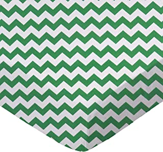 product image for SheetWorld Fitted Portable / Mini Crib Sheet - Forest Green Chevron Zigzag - Made In USA