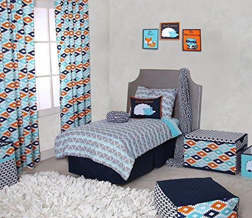 Sports Toddler Bedding Collection (Bacati Liam Aztec Triangles Cotton Muslin 4 Piece Toddler Bedding Set, Aqua/Orange/Navy)