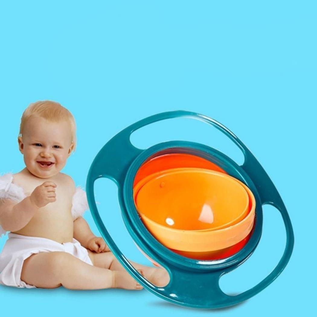 Loveje Baby Kids 360 Rotation Training Feeding Bowls Portable Gyro Bowls No Spill Gyro Bowls (Blue)
