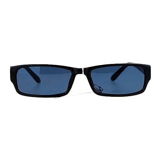 a1327387023 Mens Small Face Snug Fit Color Lens Rectangular Plastic Frame Sunglasses  Black