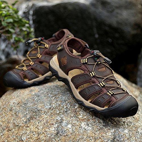 Con pie Pescador Gomnear Sandalia Zapatos Marrón cerrado Zapatilla Conveniente Sandalias Hombres del Velcro playa Verano Dedo Oscuro Moda twORq8zwn