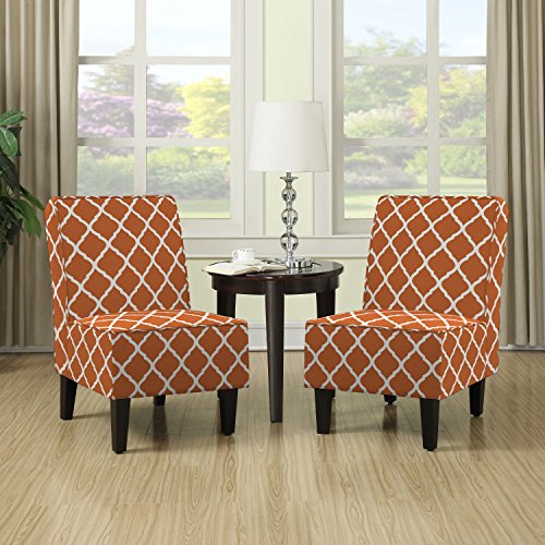 Modern Portfolio Wylie Orange Trellis Print Armless Chairs (Set of 2) Kitchen Furniture Orange