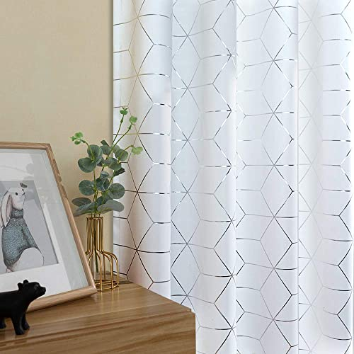 jinchan Silver Solid Diamond Foil Print Grommet Top Room Darkening Curtain White Soft Sturdy Thermal Insulated Shades for Teens Kid s Room Bedroom Living Room Nursery 84 Inches Length 2 Panels