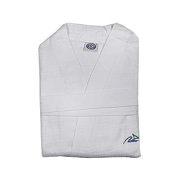 Albornoz Bata Piqué en blanco - 100% algodón con relieve de cuadros - perfecto para viajes, algodón, XL: Amazon.es: Hogar
