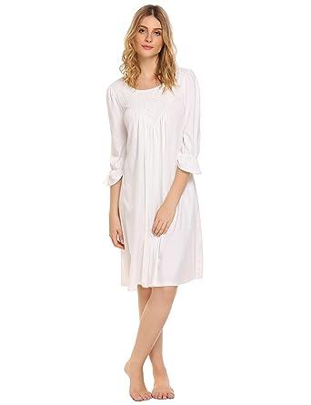 Soudoog Ladies Womens Long Sleeve Victorian Cotton Flannel Lace Satin White Pink Nightdress Pajamas Nightwear Sleepwear Size S-XL