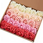 Marry Acting Artificial Flower Rose, 30pcs Real Touch Artificial Roses for DIY Bouquets Wedding Party Baby Shower Home Decor (Cream)