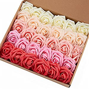 Marry Acting Artificial Flower Rose, 30pcs Real Touch Artificial Roses for DIY Bouquets Wedding Party Baby Shower Home Decor (Gradual Change Color 1)