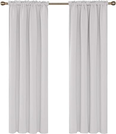 Deconovo Lot de 2 Rideau Blanc Pâle Gris Thermiques Occultants Enfants  Isolants 117x183cm Rideaux Opaques avec Passe Tringle pour Salon Chambre  Bebe