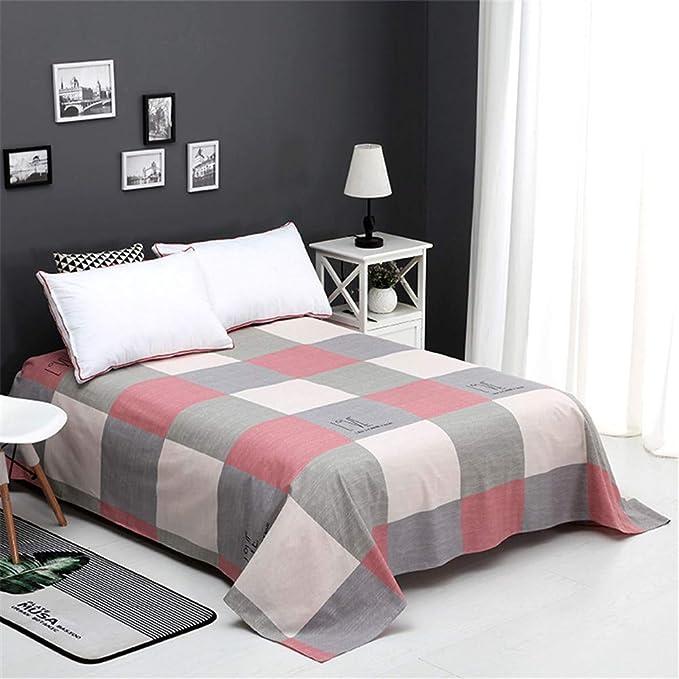Eqwr Sábanas, láminas de algodón Simples, sábanas Dobles, cómodo y Transpirable, Tela Escocesa Coloreada, 200X230cm: Amazon.es: Hogar