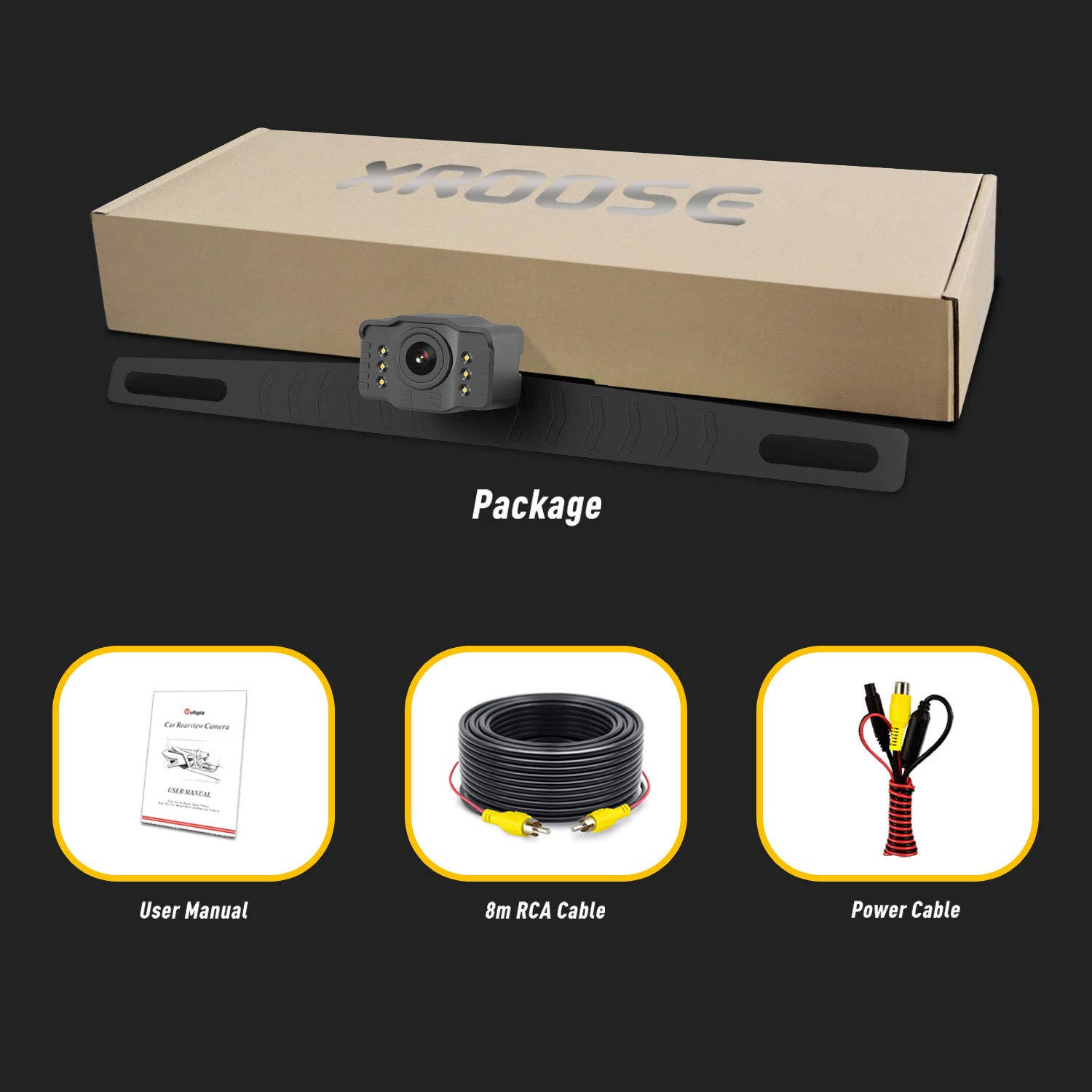 Wireless Backup Camera and Monitor License Plate Mounted HD Digital Signal Reversing Observation Camera Night Vision Waterproof Rear View for 5 LCD Monitor be Used for Safety Driving