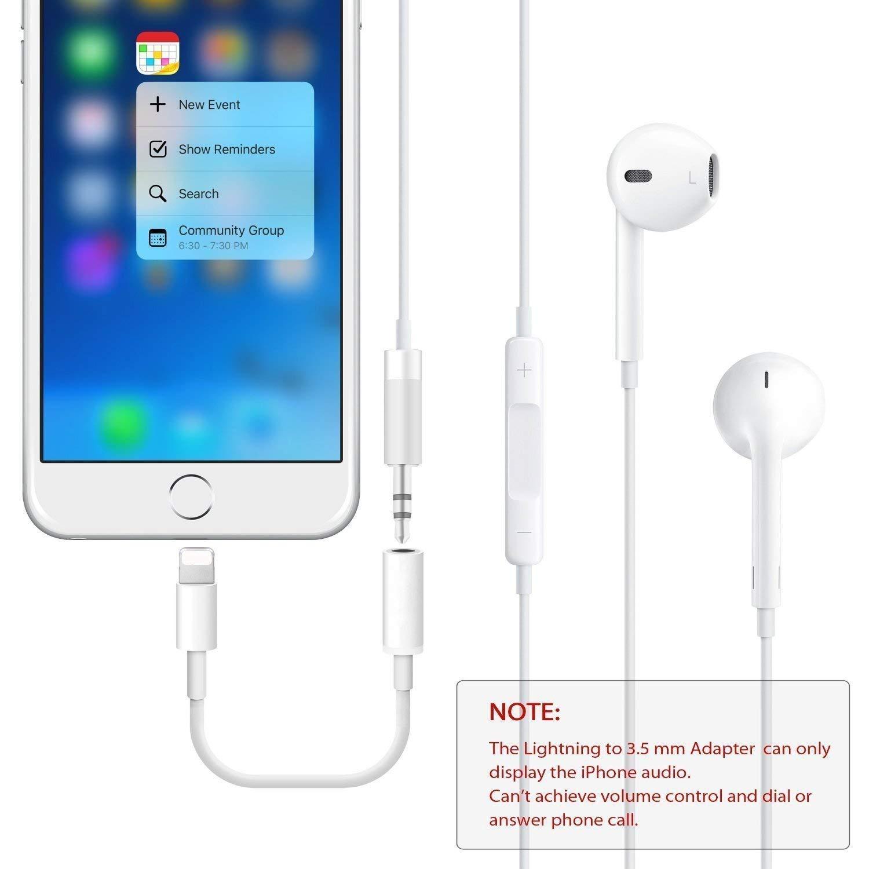 Cargador Compatible con iOS 10.3 o Posterior. DAEETO Adaptador de Conector de Auxiliar para Auriculares de 3.5 mm para iPhone 7//7 Plus 8//8 Plus X//10 Auricular Splitter Extensor Adaptador de Audio