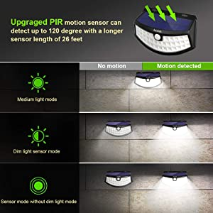 New Solar Lights 4Pack Upgraded High Efficiency 36 LEDs with 11.8 in² Solar Panel, 3 Optional Modes Sensitive PIR Motion Sensor Light with Wide Angle IP65 Waterproof Solar Outdoor Security Step Lights (Color: 4 Pack, Tamaño: Full Size)
