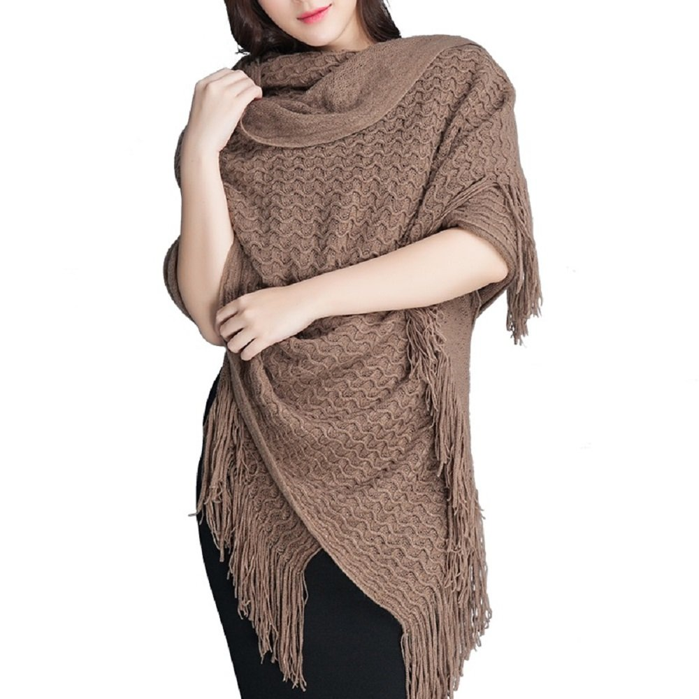 Battilo Solid Color Blanket Scarf with Tassel Office Air Conditioning Shawl Long Photographic Blanket (Brown)