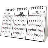 トライエックス 卓上 3か月 スケジュール 2019年 祝日訂正シール付き カレンダー CL-605 卓上 14×23cm 3ヶ月 書き込み