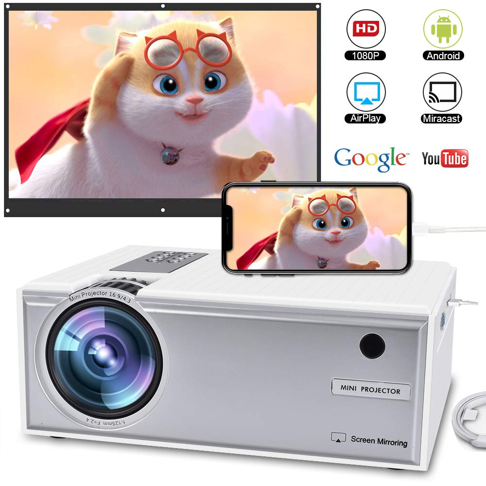 Wireless Projector, WEILIANTE 2800Lumens LED HD Video Projector, WiFi Projector Directly Connect with Smartphones, Full HD 1080p Supported, Support WiFi,HDMI,VGA,AV,USB