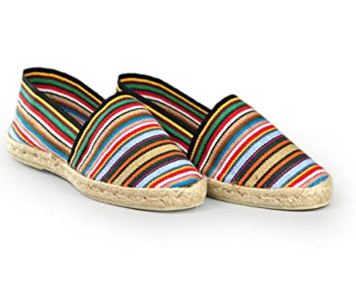 77845474fb55a Espadrille Mens – Handmade Striped Made in Basque Country France Black  Size  2