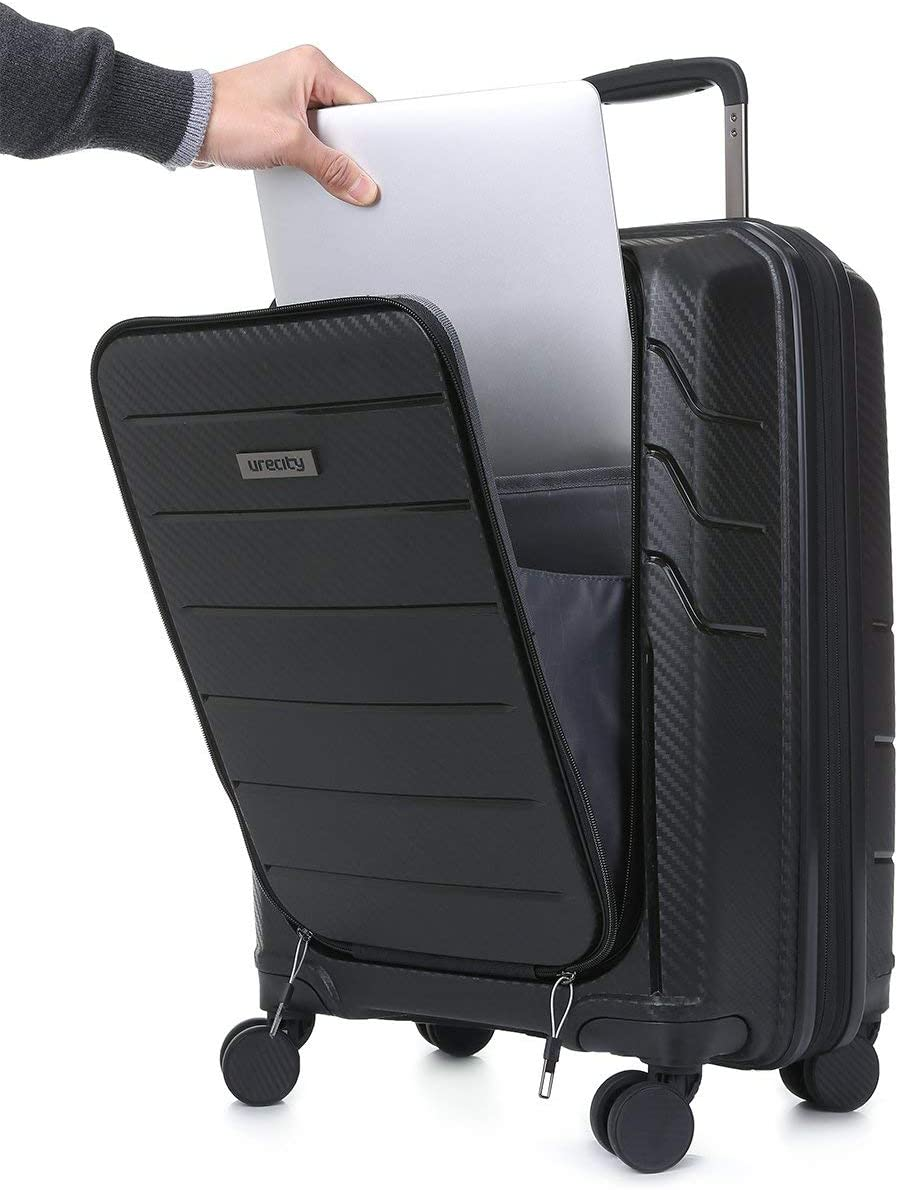 black Uretravel Expandable Cabin Suitcase Carry On Business 20 inch Hardside Luggage with Spinner Wheels
