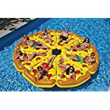 Happy Tesco 6X5Feet Giant Inflatable Pizza Slice Pool Float, Giant Slice of Pizza Swimming Pool Raft Best Swimming Pool Raft Boats for Adults Kids (with Free Patch Kit and 1 x Air Pump and Ring )