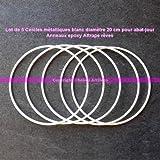 Lot de 5 Cercles métalliques blanc diamètre 20 cm pour abat-jour, Anneaux epoxy Attrape rêves