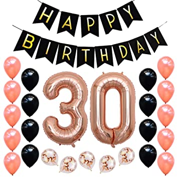 Rose Gold 30th Birthday Party Decorations Kit Black Happy Banner Confetti Balloon Pearl
