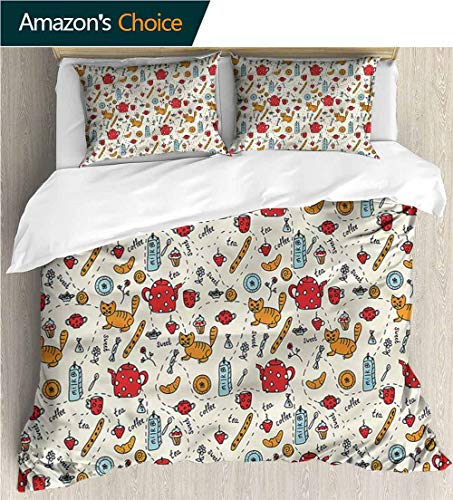 (VROSELV-HOME Cotton Bedding Sets,Box Stitched,Soft,Breathable,Hypoallergenic,Fade Resistant Bedding Set for Teen 3Pcs-Cartoon Cute Doodle Cat Breakfast (90