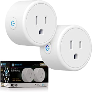 iBRIGHT Mini Smart Plug, Smart Home WiFi Outlet, Remote App Control, supports 2.4GHz Network, No Hub Required (Works with Amazon Alexa & Google Assistant) FCC ROHS Certified